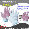 7g Bleached Polyester/Cotton Knitted Glove with Red PVC Dots/ En388: 112X
