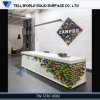 Modern Design Corian Office Front Desk, Office Reception Desk with Flowers