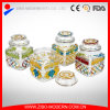 Square Shape Embossed Glass Storage Jar with Glass Lid Airtight Jar