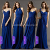 Navy Blue Chiffon Party Prom Evening Gowns Cap Sleeves Long Bridesmaid Dress A9