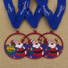 Custom Ribbon Metal Santa Run Medal with Blue Color