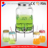Clear Cylinder Glass Beverage Dispenser with Silver Plastic Tap 4PC Glass
