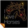 I Love Horse Hot Fix Rhinestone Motif Design
