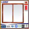 Waterproof Household Double Glass Sliding Window with Yellow Aluminum Frame