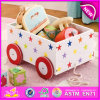MDF Pull and Push Kids Wooden Toy Box, Wooden Storage Box with 4 Wheels, Pulled Cart Toy W08c128