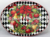 2 Size Oval Seasonal Custom Design Paper Decal Metal Serving Tray W/Handle