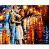 Oil Painting on Canvas Couple Kissing on a Rainy Road Handmade Oil Painting Home Decor Figure Wall Pictures
