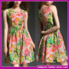 New Model Fashion Women Clothing Sexy Ladies Summer Sleeveless Ponished Print Dress (B-0034)