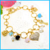 Rhinestones Heart Charm Gold Circle Ring Metal Bracelet #31485
