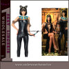 Faux Leather Black Teddy Lingerie Cat Animal Costume (5129)