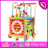 2015 New Baby Round Bead Wooden Push Along Toy, Push Wooden Baby Walker, Hot Selling Wooden Push Toy with String Beads Toy W16e038