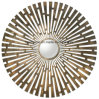 Dazzling Forged Metal Brushed Brass Antiquing Center Convex Mirror Decor