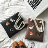 New Snake PU Tote Bags Stitching Shopping Bag for Lady