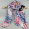 Fashion Accessory Summer Polyester Printed Long Scarf for Women Spring Shawl