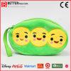 Smile Face Pea Double-Layer Zipper Soft Stuffed Plush Purse Wallet Handbag