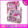 2015 New Wooden Toy Doll House for Kids, Pretesnd Toy Wooden Doll House for Children, High Quality DIY Wooden Doll House W06A101