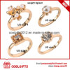 4PCS/Set 18k Gold Plated Wedding Rings with Pearl and Diamond Accessories