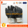 Ddsafety 2017 100% Cotton Liner Black PVC Work Glove with Rough Finished