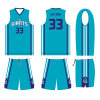 Charlotte Hornets Design Teal Color Sulimation Uniform with Custom Logo