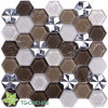 Stainless Steel Hexagon Color Mixed Glass Mosaic (TG-OWD-550)