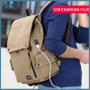 Wholesale Backpack USB Charger Rucksack Simple Canvas Man Bag