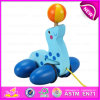 Wooden Pull Line Sea Lion Cart Toy for Baby, Kids Funny Play Wooden Sea Lion Pull Along Cart Toy for Toddler W05b108