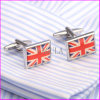 Fashion Square Silver Plated Flag Men′s Brass Cufflinks