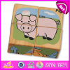 4PC Wooden Custom Cubic 3D Jigsaw Puzzle Set for Kids Learn English Words W14f044