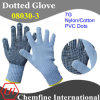 7g Blue Nylon/Cotton Knitted Glove with Black PVC Dots