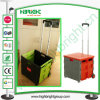 Telescopic Handle Plastic Foldable Shopping Cart with Two Wheels