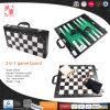 New Design Modern 2 in 1 Foldable Leather Wooden Chess Checkers Backgammon Set