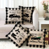 2020 New Style Merry Christmas Pillowcase White and Black Plaid Line Cushion Cover