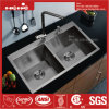 Drop in Handmade Kitchen Sink, Stainless Steel Top Mount Equal Double Bowl Handmade Kitchen Sink