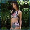 2018 Hight Waist Bikini Two Piece Striped Swimwear Female Swimsuit