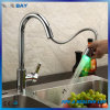 Pull out Chrome Brass Color Changing Water Powered LED Retractable Kitchen Taps Mixer