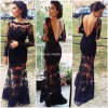 Black Evening Dress Illusion Lace Celebrity Dress Yao74