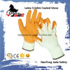 10g Cotton Palm Orange Latex Crinkle Coated Industrial Glove
