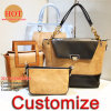 Lady Tote Bag Fashion Women′s Bag Set New Design Tote Bag Lady Shoulder Bags Ladies Cork Genuine Leather Handbag Lady Bag Low MOQ OEM (Cork5)