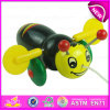 Cartoon Animal Bee Design Kids Hand Push Toy, Preschool Baby Lovely Animal Toys Wooden Little Bee Push Toy W05b111
