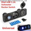 Blue LED Dual USB Car Charger Rocker Switch Cigarette Lighter