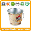 Tin Pail and Metal Bucket with Wooden Handle for Pizza