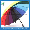 Automatic Open Metal Frame Ployster Fabric 16ribs Rainbow Parasol Umbrella