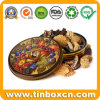 Round Gift Metal Bakery Tin Box for Christmas Tin Case