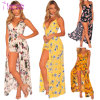 Fashion Sling Floral Faux Wrap Maxi Romper Beachwear Dress L55349-4