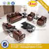 Modern Classic Office Leather Sofa with Stainless Structure (HX-S286)