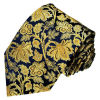 New Fashion Navy Blue Colour Background Gold Rose Flower Design Men′s Woven Silk Neckties
