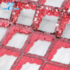 Fashion Red Square Latest Sequins Fabrics 2019 with Lace Mesh