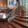 Modern Helical Staircase with Wood Stair Tread