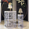 Event Decoration Customized Hollow Flower Shelf White Iron Wedding Cake Stand