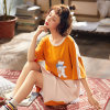 Pajamas Female Summer Short-Sleeved Nightdress Knitted Cotton Dress Cartoon Can Be Worn Outside The Trend of Home Service